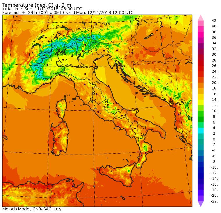 Lunedì 12 Novembre - Le temperature massime previste alle ore 13