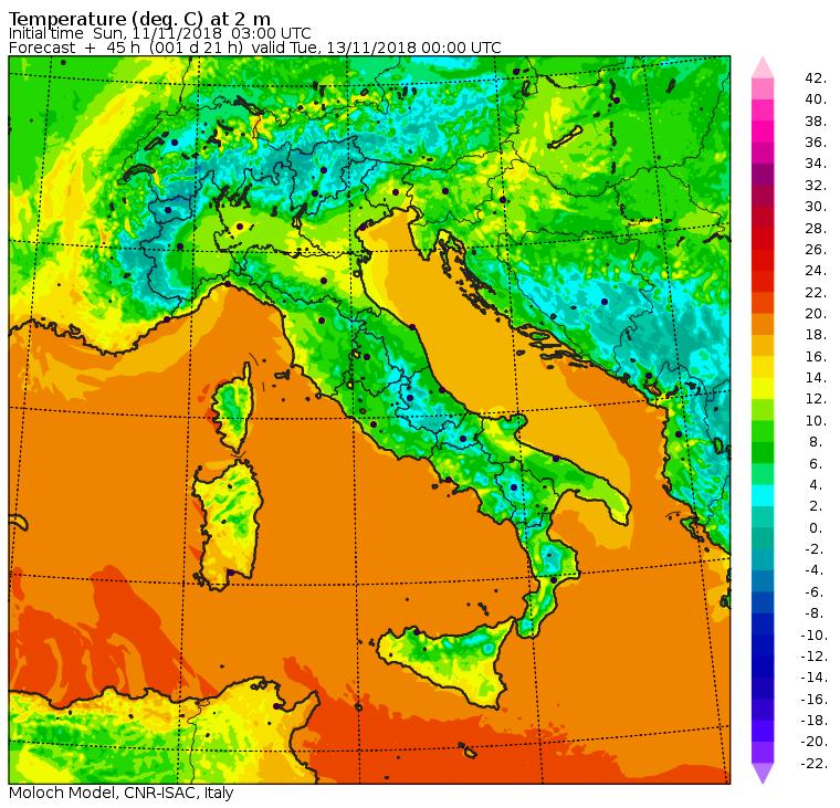 Le temperature nella notte tra Lunedì 12 e Martedì 13 Novembre