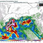 Allerta Meteo, nuovo round di piogge torrenziali a Nord tra martedì 6 e mercoledì 7 Novembre: attesi fino a 300mm, rischio alluvioni [MAPPE]