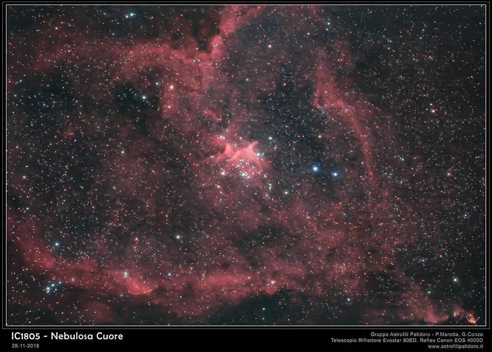 nebulosa Cuore IC1805 nella costellazione di Cassiopea