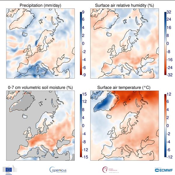 precipitazioni umidità europa ottobre 2018