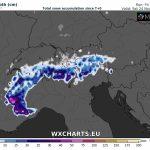 Previsioni Meteo, importanti nevicate sulle Alpi: atteso mezzo metro di neve fresca sulle montagne del Nord Italia [MAPPE]