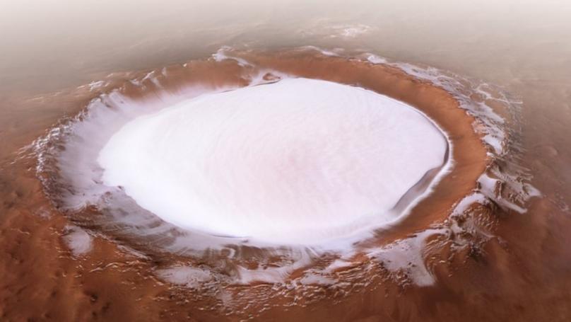 cratere ghiacciato marte