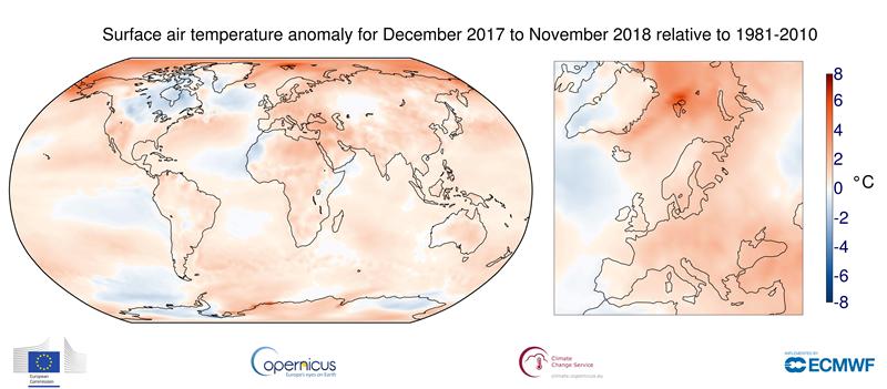 temperature globali dicembre 2017-novembre 2018