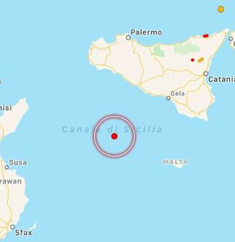 terremoto canale di sicilia