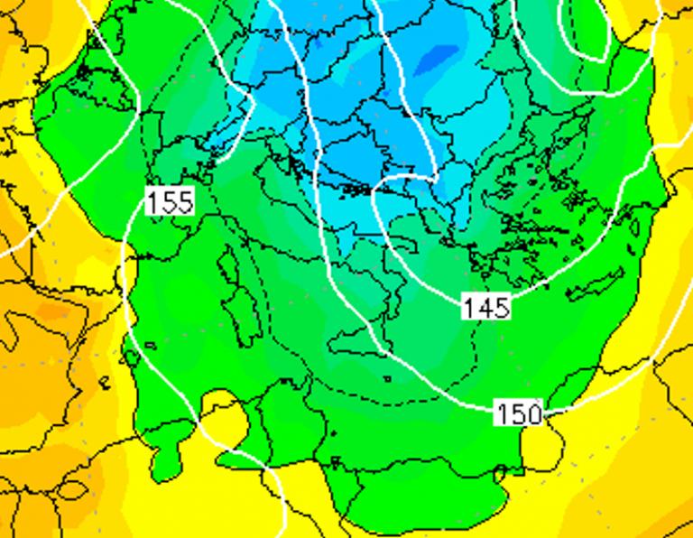 Le temperature ad 850hPa alle ore 07:00 di domani, Venerdì 4 Gennaio
