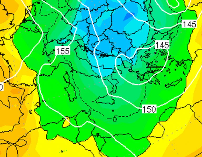 Le temperature ad 850hPa alle ore 10:00 di domani, Venerdì 4 Gennaio