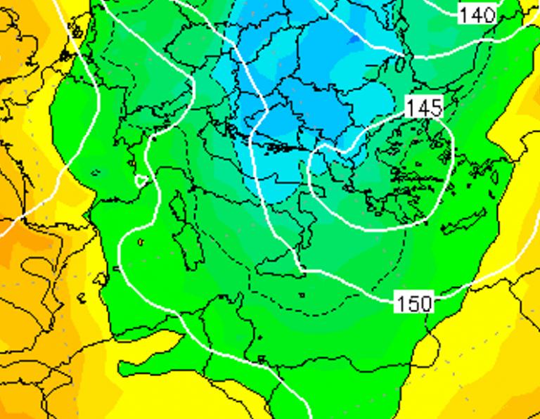 Le temperature ad 850hPa alle ore 13:00 di domani, Venerdì 4 Gennaio