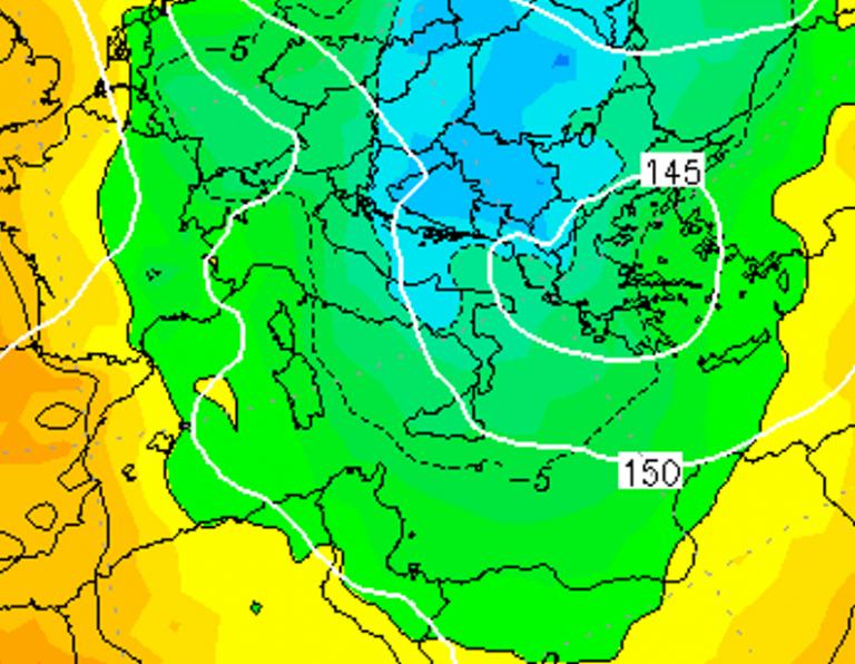 Le temperature ad 850hPa alle ore 16:00 di domani, Venerdì 4 Gennaio
