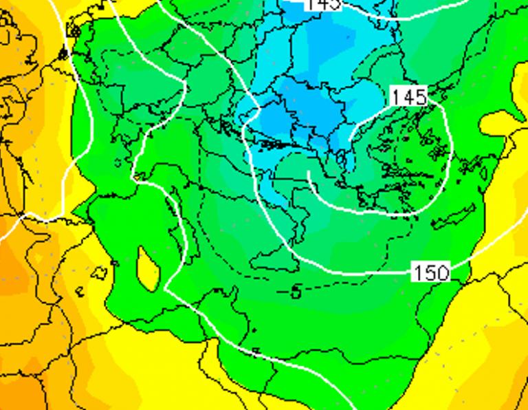 Le temperature ad 850hPa alle ore 19:00 di domani, Venerdì 4 Gennaio
