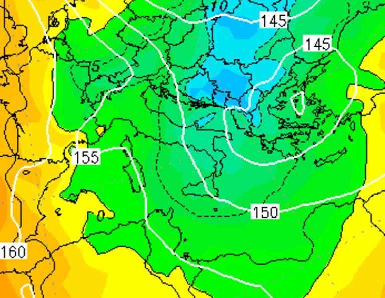 Le temperature ad 850hPa nella notte tra Venerdì 4 e Sabato 5 Gennaio