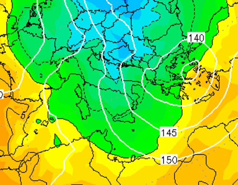 Le temperature ad 850hPa alle ore 13:00 di oggi, Giovedì 3 Gennaio
