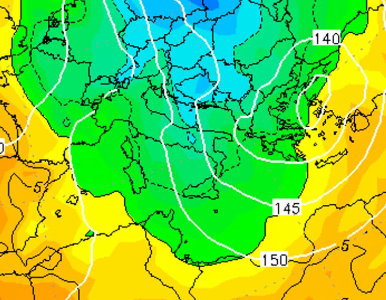 Le temperature ad 850hPa alle ore 16:00 di oggi, Giovedì 3 Gennaio