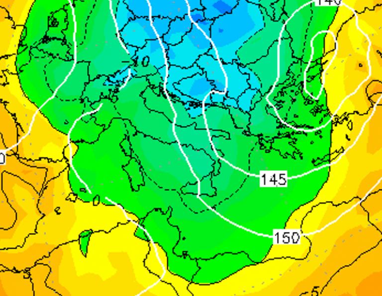 Le temperature ad 850hPa alle ore 22:00 di oggi, Giovedì 3 Gennaio