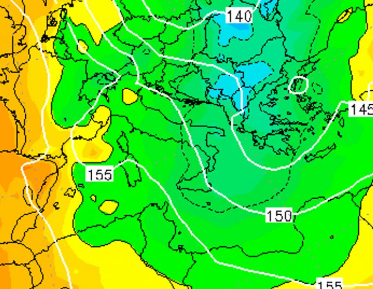 Le temperature ad 850hPa alle ore 10:00 di dopodomani, Sabato 5 Gennaio