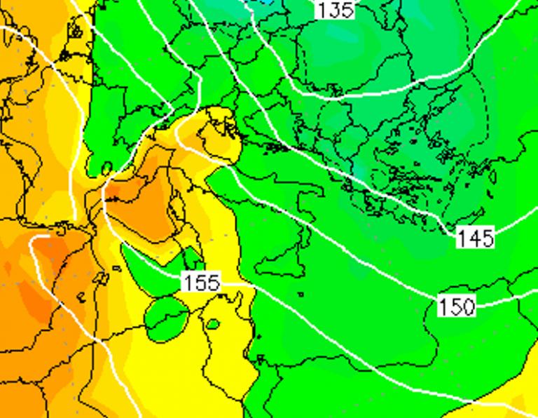 Le temperature ad 850hPa alle ore 22:00 di dopodomani, Sabato 5 Gennaio