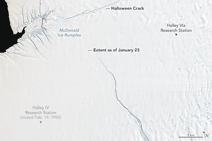 Mappa delle crepe sulla piattaforma antartica di Brunt
