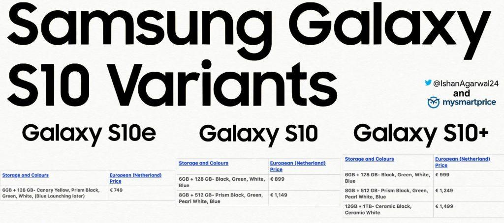 galaxy s10 varianti prezzi schede versioni