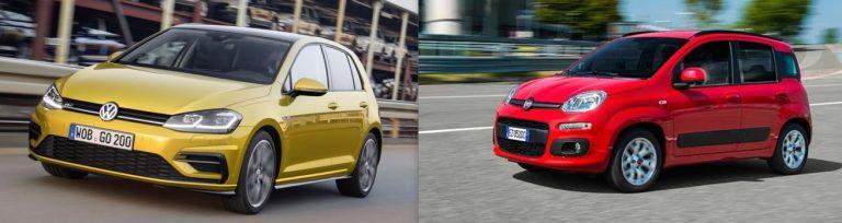 0 STELLE Vw Golf 1.6TDI e Fiat Panda 1.0