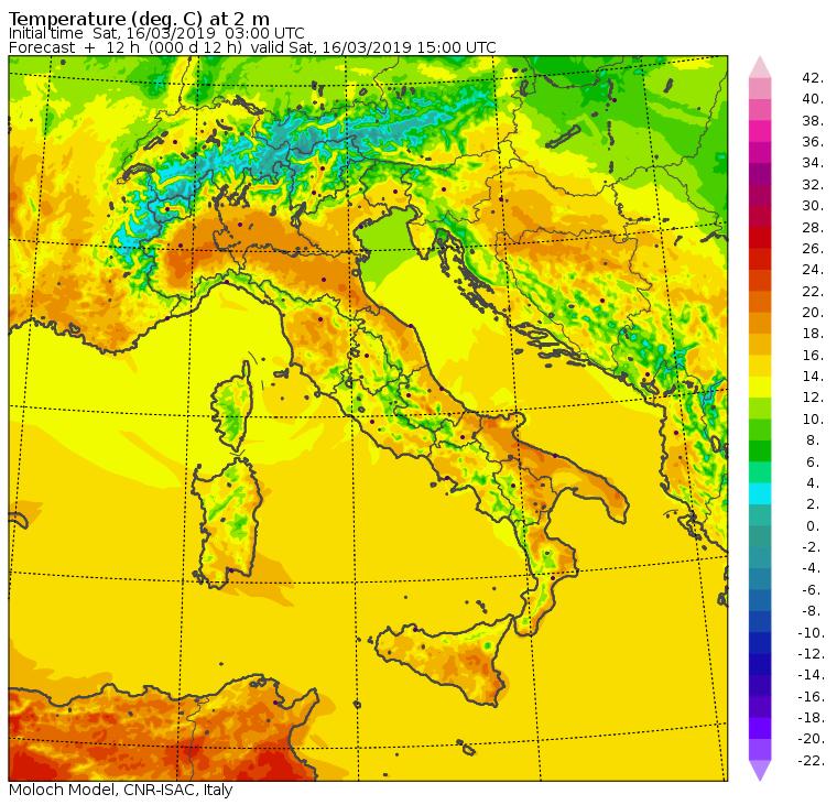 Le temperature massime di Sabato 16 Marzo