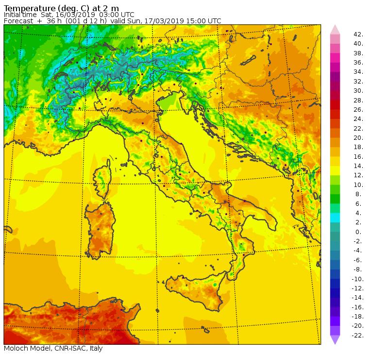 Le temperature massime previste per Domenica 17 Marzo