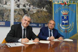 L'Ad di Terna, Luigi Ferraris, e il sindaco di Matera Raffaello De Ruggieri