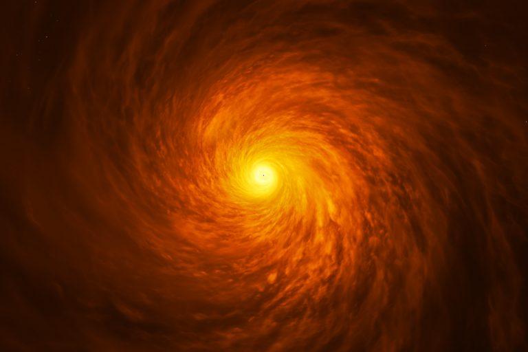 Rappresentazione artistica del tenue disco di materia attorno al buco nero supermassiccio al centro della galassia NGC 3147. Credit: ESA/Hubble, M. Kornmesser