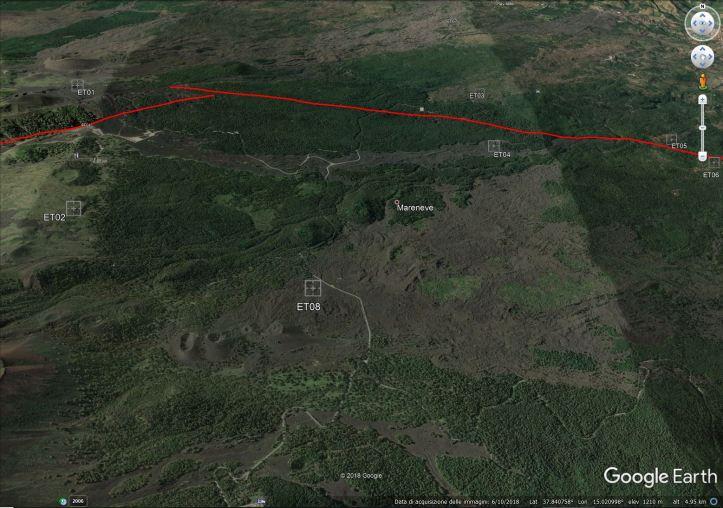 Figura 1 – Mappa di Google che mostra la posizione delle otto stazioni intorno alla faglia (in rosso)