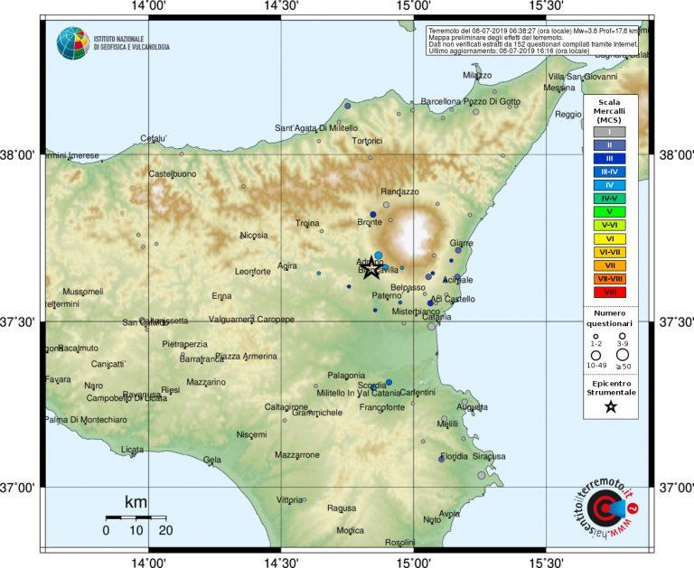 Immagine 2 - Mappa dei risentimenti in base alle risposte a Hai sentito il terremoto