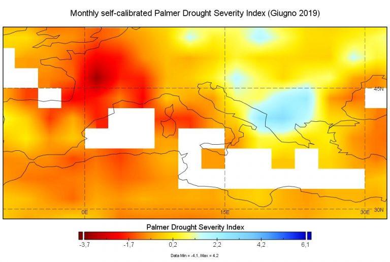 Mappa dell'indice Palmer. Dati da modello prodotti dal World Climate Research Programme (WCRP)