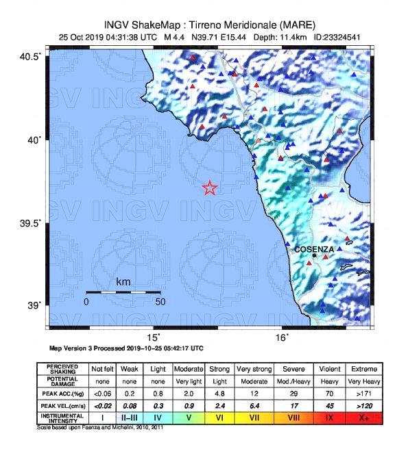 terremoto calabria 25 ottobre 2019
