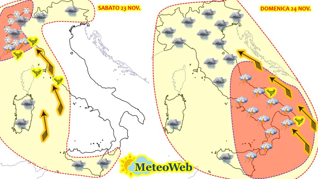 allerta meteo italia weekend sabato 23 domenica 24 novembre meteoweb