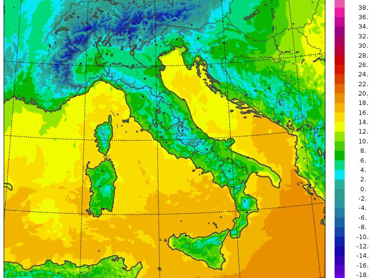 temperature minime italia domenica 10 dicembre 2019