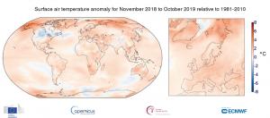 temperature novembre 2018 ottobre 2019