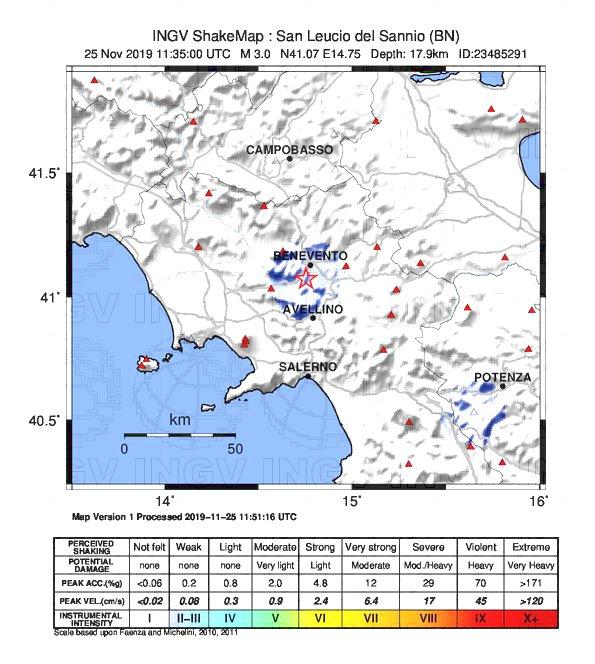 Ceppaloni (BN), tre lievi scosse di terremoto in Campania