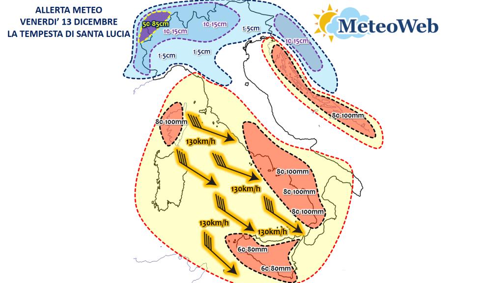 allerta meteo venerdì 13 dicembre italia tempesta di santa lucia