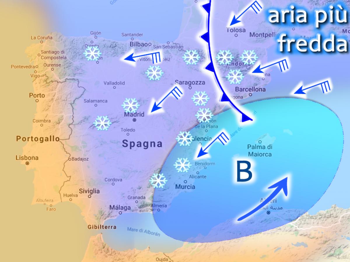 Cartina Meteo Spagna.Allerta Meteo Spagna Il Ciclone Di Neve Si Scatena Nel Mediterraneo Occidentale Durera 4 5 Giorni Live Meteoweb