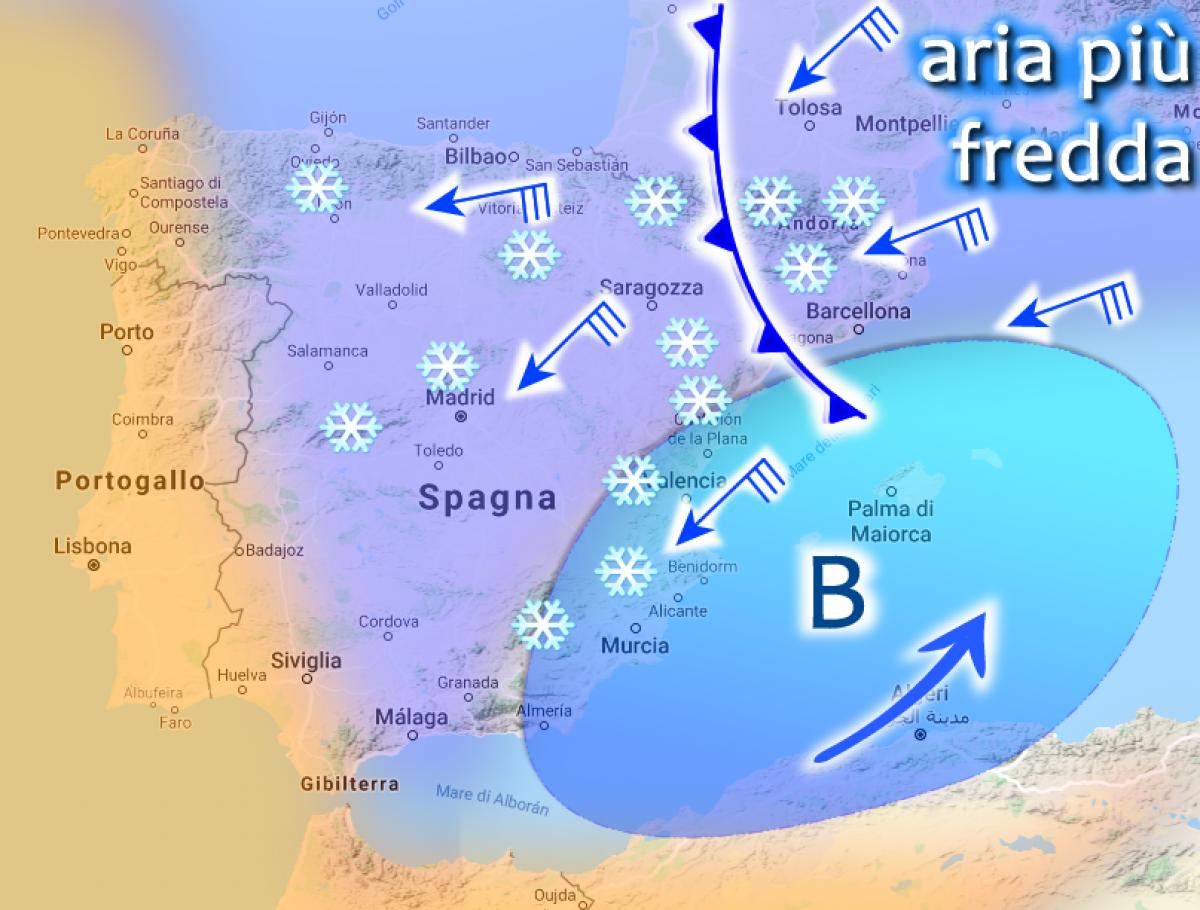 Cartina Spagna Nord Occidentale.Allerta Meteo Spagna Il Ciclone Di Neve Si Scatena Nel Mediterraneo Occidentale Durera 4 5 Giorni Live Meteoweb