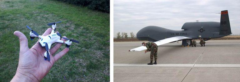 Figura 1 - Un micro drone amatoriale a sinistra e il Global Hawk, a destra, drone da guerra statunitense con un'apertura alare di 60 m e in grado di stare in volo per 24 ore continuative ed effettuare il giro del mondo. Fotografie: INGV-OE (sinistra); U.S. Air Force (destra).