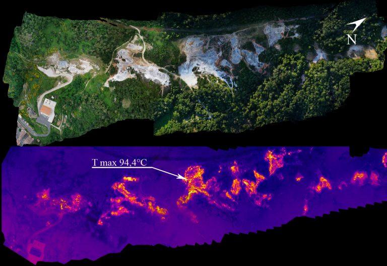 Figura 12 - Parco delle Biancane - Distribuzione areale delle zone ad elevata anomalia termica. Immagini: INGV - Osservatorio Vesuviano.