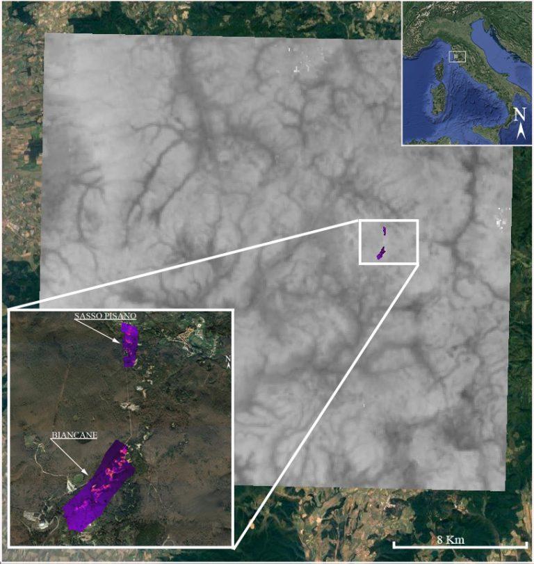 Figura 13 - Parco delle Biancane - Misure di concentrazione di gas e delle temperature superficiali, utili a calibrare i dati all'infrarosso termico rilevati da satellite. Immagine: INGV - Osservatorio Vesuviano.