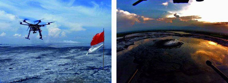 Figura 14 - Fotografia del drone che sorvola il vulcano di fango Lusi e immagine del vulcano ripresa dal drone. Fotografie: INGV - Sezione Roma 1.