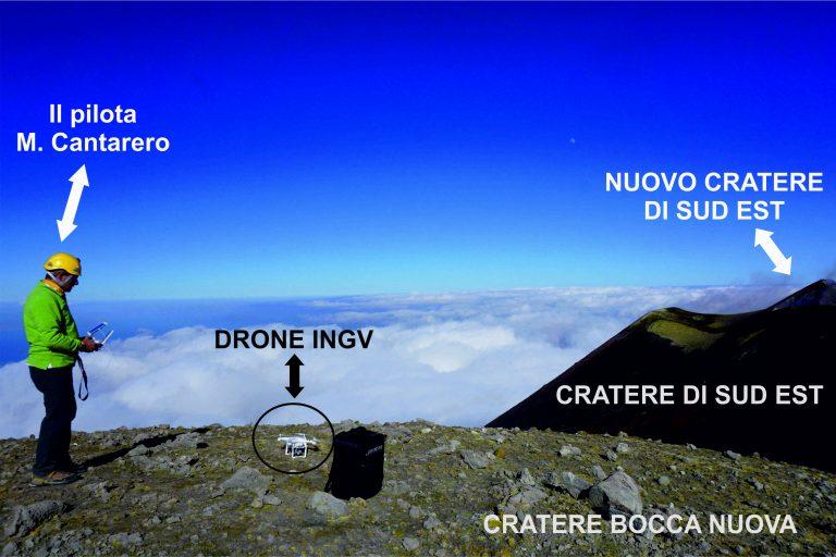 Figura 3 - Decollo di un drone dall'orlo della Bocca Nuova per il monitoraggio del Nuovo Cratere di Sud Est. Fotografia: INGV - Osservatorio Etneo.