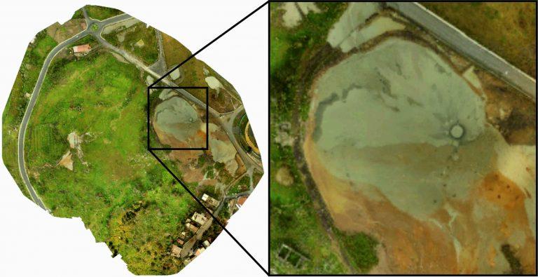 """Figura 8 - Ortofoto del geosito delle """"Salinelle dei Cappuccini"""" a Paternò (CT); nel riquadro, un dettaglio del vulcano di fango. Fotografia: INGV - Osservatorio Etneo."""