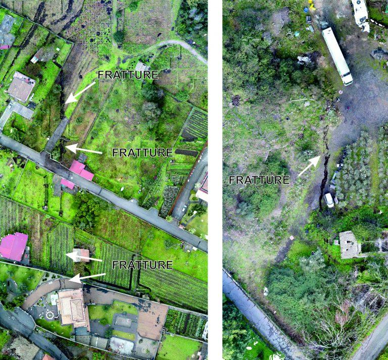 Figura 9 - Ortofoto che mostrano alcune delle fratture dell'area di Pennisi (provincia di Catania). Fotografie: INGV - Osservatorio Etneo.
