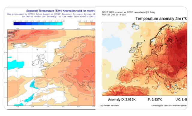Dicembre 2019: previsioni stagionali ECMWF (a sinistra), temperature reali (a destra)