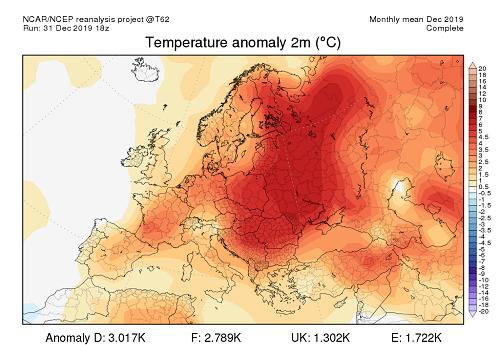 Anomalia temperature dicembre 2019