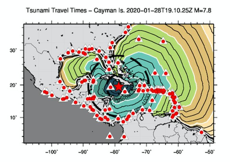 Mappa con l'ipocentro del terremoto. Le isolinee colorate rappresentano le linee dei tempi di propagazione del possibile tsunami (al momento – le 21:00 – confermato con piccole anomalie osservate). Il verde chiaro delimita l'area che potrebbe venire colpita entro 3 ore dal tempo origine dell'evento.