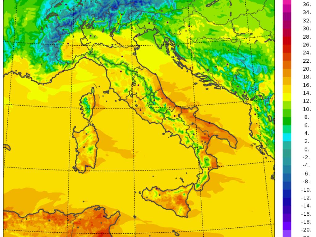 temperature massime italia 11 febbraio 2020 modello Moloch - CNR ISAC