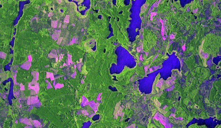 Immagine COSMO-SkyMed Second Generation, acquisita il 19 Febbraio 2020 alle ore 04:26:49 UTC sulla città di Wesenberg in Germania. La ripresa è stata fatta nella modalità Stripmap Dual Pol, a 3 metri di risoluzione. La combinazione delle differenti polarizzazioni utilizzate mette evidenza la differenza tra i laghi (le striature blu sono dovute al vento che increspa l'acqua), le diverse zone boschive (in verde) e i campi agricoli o a pascolo (in rosa/ violetto). A questo si aggiunge il dettaglio tipico delle immagini radar COSMO SkyMed che permettono di vedere le strutture geometriche del territorio, come strade, abitazioni e altre strutture antropiche. COSMO-SkyMed Second Generation © ASI. Processed and distributed by e-GEOS